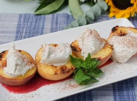 Grilled Peaches on a platter