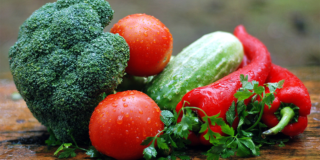 Broccoli, cucumbers, peppers and tomatoes